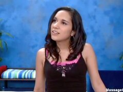 Cute 18 year old massage therapist Tia gives a little more than a massage!