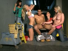 Four Freaky Bitches Force A Guy To Fuck Them All