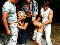 Teeny Girl Gets Gangbang in the Garden. Part 2