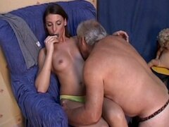 Young doll enjoys senior cock