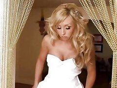 Bride in white beautiful white dress gets pounded