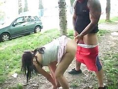 Babe gets pounded very near a public road