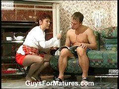 Kinky mom sucking and making young cock hard enough for outrageous banging