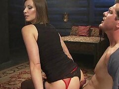 Tied Up Dude Getting His Cock Sucked and Fucked by a Hot Dominant Babe