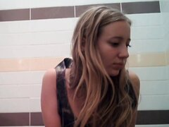 Blonde shows booty upskirt and gets spied pissing on toilet