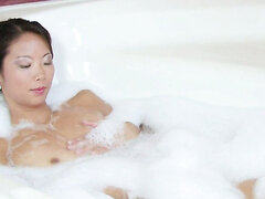 Chinese gf masturbating in bathtub