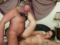 Hadjara sucks some old guy's prick and gets her hairy pussy fucked hard