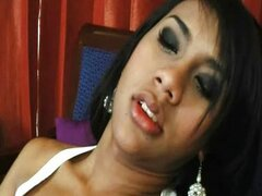 Ladyboy fucks her ass with a dildo
