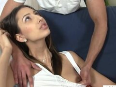 Busty Kitty Jane gets a taste of cum