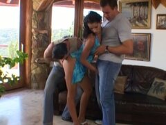 Black haired diva Angel Dark seduced to participate in threesome