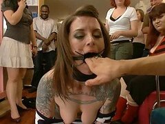 Sexy Brunette Gets A BDSM Session In Public As Well Masturbated