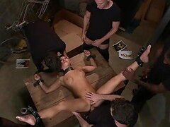 Asian Babe Gets Her Holes Clogged In A Wild Gangbang