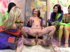 Hot and steamy CFNM  action as bitches make a mess with his painted pecker