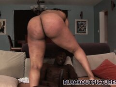 It's a big black dick invasion of her fat black snatch on the couch