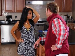 Petite little brunette has some problems in the kitchen, so this guy comes to help her out..