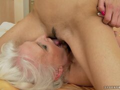 Teen Brunette Fucking an Old Lady with Her Strapon Dildo