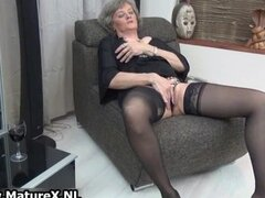 Grey old woman with big tits and black part1