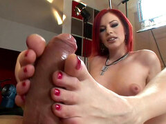 Marsha Lord gets a good cumshot on her red hairs