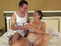 Granny being drilled by a young dude