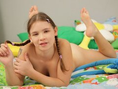 An impeccable teen cutie with pigtails gets to know her brother's buddy's boner