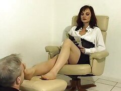 He is to sniff her feet deeply