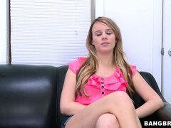 Sexy new blonde stops by the casting couch to chat and get naked
