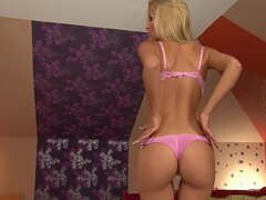 Skinny blonde Sophie Sweet is playing with her pussy