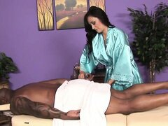 The hot massage therapist doesn't resist desire and jumps on top of him