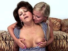 Sexy Pigtailed Blonde Teen Sunny Diamond Goes Lesbian with Granny