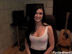 Busty brunette Kendall gets a surprise visit from her boyfriend and convinces her to fuck him on cam.
