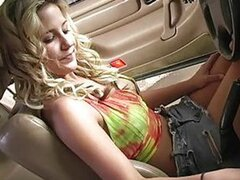 This hot little blonde takes her new car out to get cleaned. Her pussy gets a good cleaning too!!!
