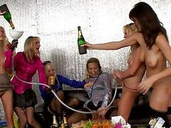 Handsome lesbian babes enjoying in group sex at the party
