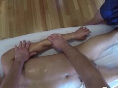 MenPOV Hot threeway massage and fuck with toy