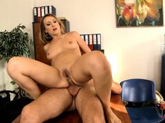 The horny secretary enjoys to the fullest the double penetration all over the office