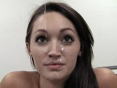Hot Carleigh gets her beautiful face covered with cum