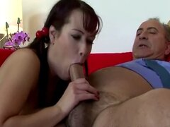 Big titted babe sucking and fucking with this old guy