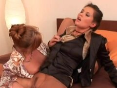 Ripped pantyhose and blouses on lesbians