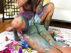 Cum paint with Alison and Kelly Divine
