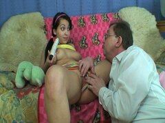 Hot brunette teen with nice perky boobs fucked by older dude