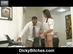 Shemale co-worker having oral and anal options in the end of her working day