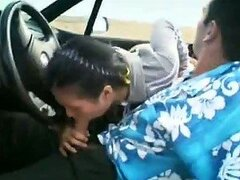 A Blowjob In The Car and a Hardcore Fucking At The Beach