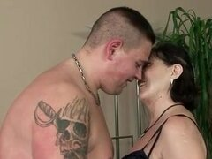 Fat guy blown by hot mature that rides him