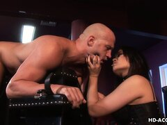 Ripped dude getting pegged by hot Asian dominatrix Annie Cruz