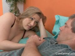 Vicky Slobbers on a Black Cock While Her Hubby Watches On