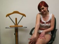 Beautiful red hair slut Feliciia is very nasty as she tease with wet t-shirt and her boobs