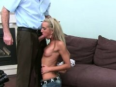 Horny blondie girl deep fucking on couch