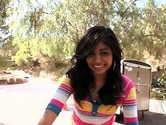 Ebony teen cutie flashing round hot ass and cunt on a bike