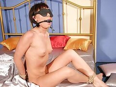 A kinky couple show just how much they love their sex games as she's tied up like a salve