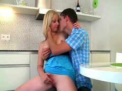 Blonde teen girl gets anal fuck in the kitchen