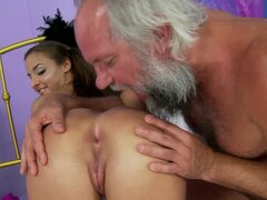 Sweet Amirah Adara gets her ass and pussy toyed by old guy